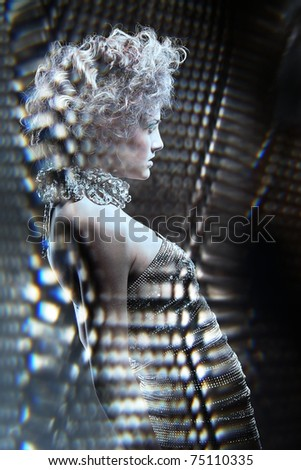 woman in silver lights