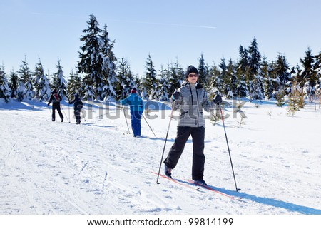 Woman in ski cross - stock photo