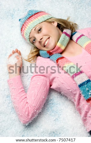 Woman in Snow - stock photo