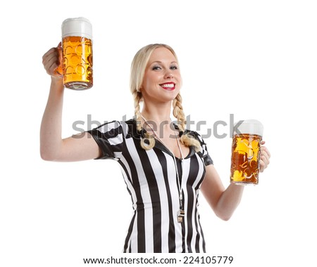 woman in soccer style with a big glass of beer in her hands ready to party - stock photo