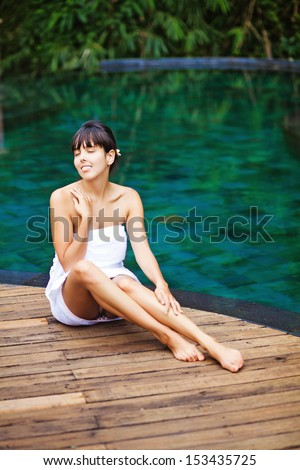 woman in spa in jungle, bali - stock photo
