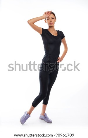 woman in sport wear break - stock photo