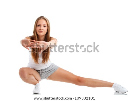 woman in sports clothes isolated on white - stock photo