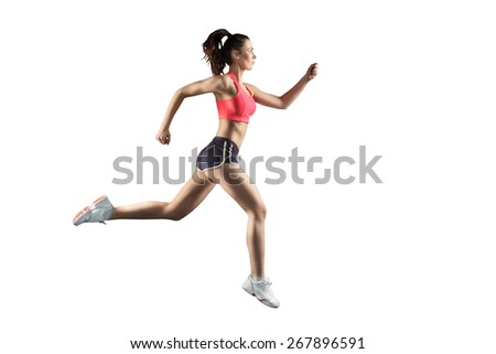woman in sportweear running on white background - stock photo