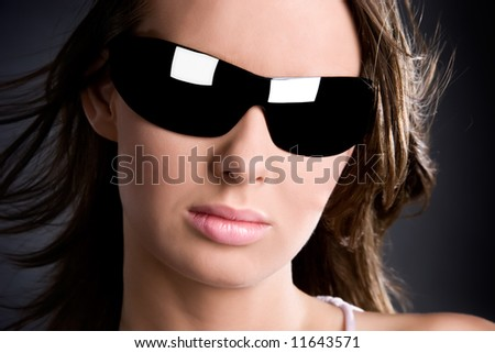 Woman in sunglasses glamour portrait. - stock photo