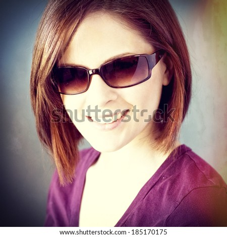 Woman in sunglasses, instagram style - stock photo