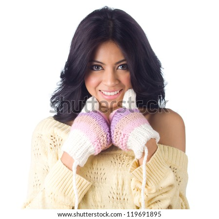 Woman in sweater with gloves  on white  background - stock photo