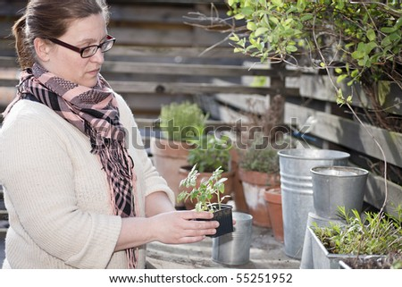 Woman in the garden holding a flower pot with small young plants - stock photo
