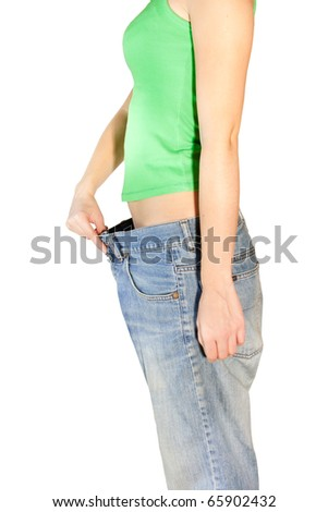 Woman in the huge trousers - stock photo