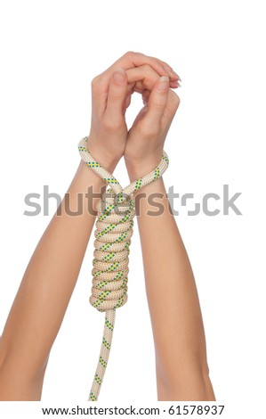 woman in the loop for hanging as a symbol of world servitude - stock photo