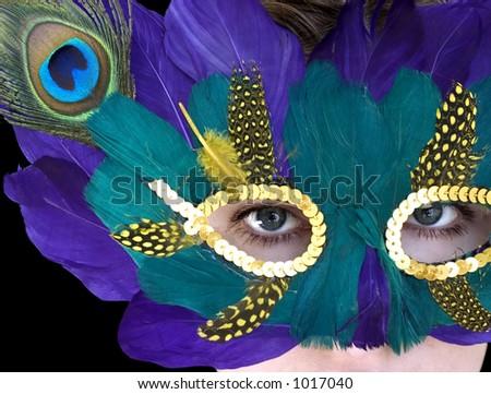 woman in the mardi gras mask - stock photo
