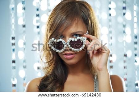 Woman in the nightclub - stock photo