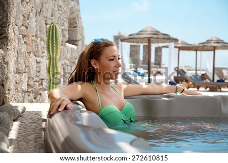 woman in the spa of a hotel - stock photo
