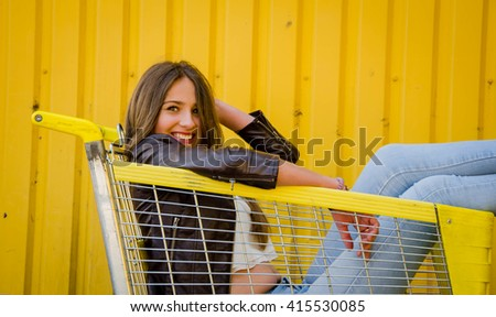 Woman in The Supermarket with Shopping - stock photo