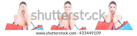 Woman in three phases holding shopping bags making deaf mute and blind gesture isolated on white background - stock photo