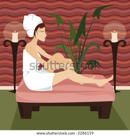 Woman in towel relaxes at a luxurious spa retreat, surrounded by candles and greenery - stock photo