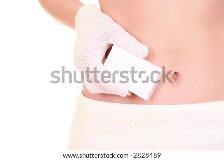 woman in towel with bath glove and soap isolated on white - body care - stock photo