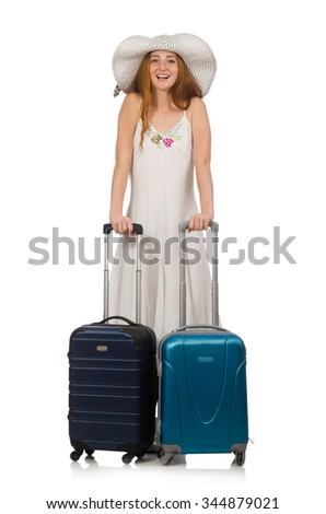 Woman in travelling concept on white - stock photo