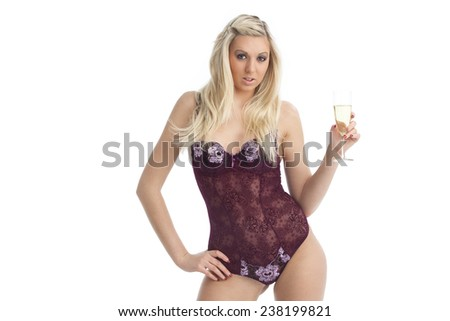 woman in underwear with champagne  - stock photo