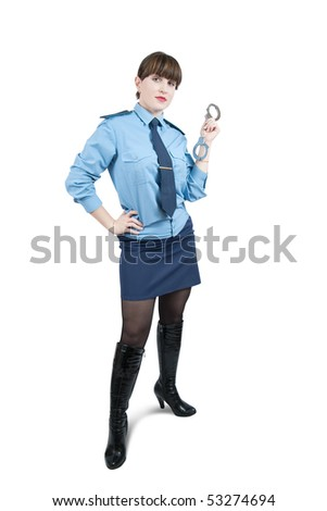 woman in uniform with manacles, isolated over white - stock photo