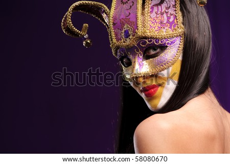 woman in violet half mask, good use for carnival concept - stock photo