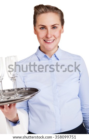 Woman in waiter uniform holding tray with glasses, smiling, isolated, white background.