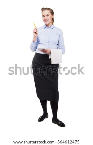 Woman in waiter uniform taking order, Smiling, isolated on White background.