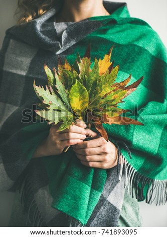 Woman in warm woolen green check scarf or blanket with Autumn fallen leaves in her hands. Fall cosy mood lifestyle concept