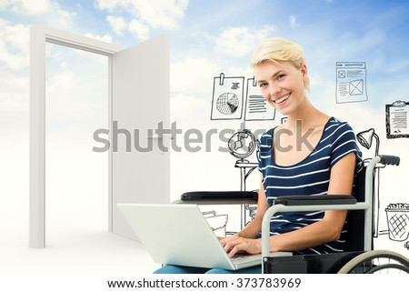 Woman in wheelchair using computer against doodle office in clouds with door - stock photo