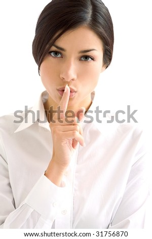 woman in white - stock photo