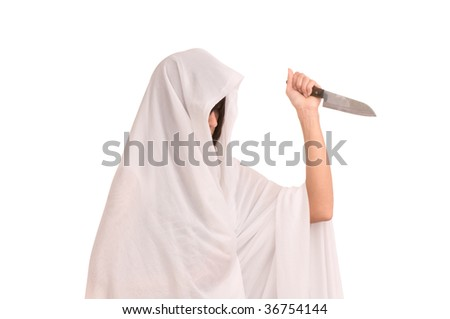 woman in white clothes with  knife - stock photo