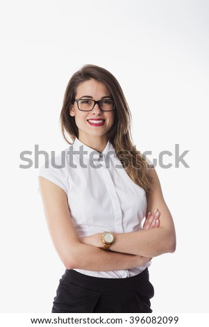 Woman in white, isolated on white - stock photo