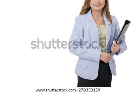 Woman in white lab coat inviting making welcome hand gesture. Doctor with clipboard  on  white background. Medical person for health insurance.  - stock photo