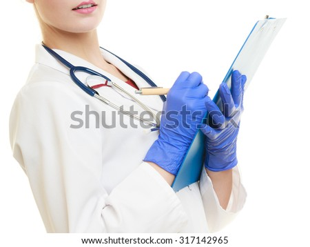 woman in white lab coat with stethoscope. Doctor with clipboard and pen isolated. Medical person for health insurance.
