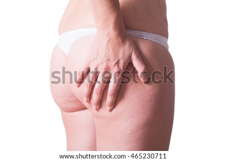 Woman in white panties with cellulite on her ass . isolated on white backgroun with clipping path included