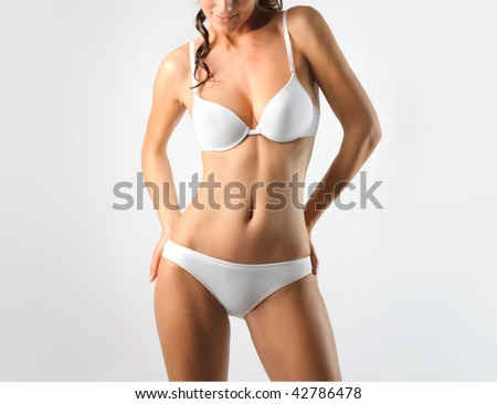 woman in white underwear - stock photo