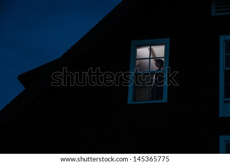 Woman in window - stock photo