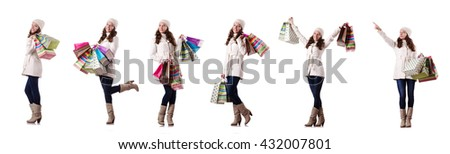 Woman in winter clothing doing christmas shopping - stock photo