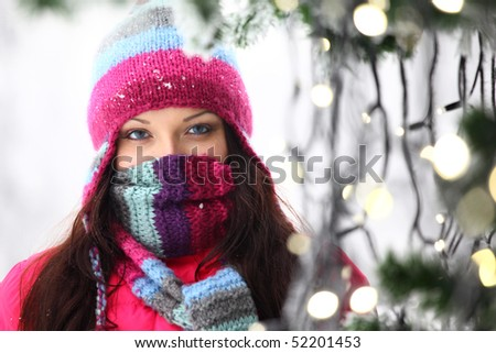 woman in winter hat - stock photo