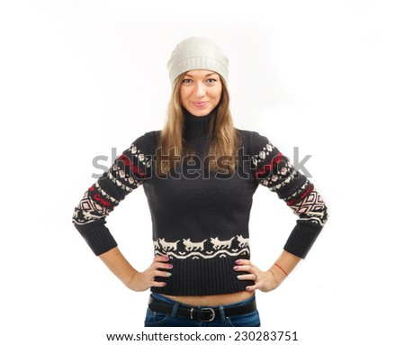 Woman in winter jacket. Beautiful Winter Woman. Young beautiful woman wearing winter clothing on white background. On winter resort. Hello. Ok and very good. - stock photo