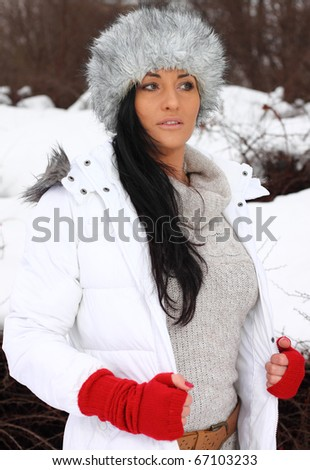 woman in winter park
