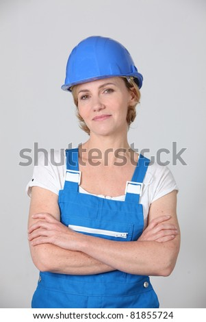 woman in working clothes - stock photo