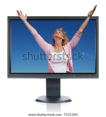 Woman in worship getting out of a monitor isolated on white - stock photo
