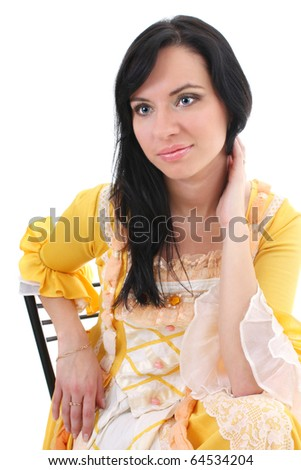 woman in yellow medieval dress over white background