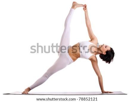 woman in yoga asana - Side Plank pose - stock photo