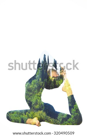 woman in yoga king pigeon position double exposure  - stock photo