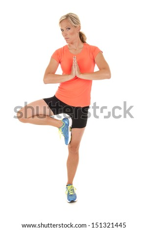 Woman in yoga position during fitness workout