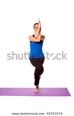 Woman in Yoga Position - Isolated Background - stock photo