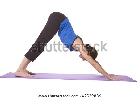 Woman in Yoga Position - Isolated White background - stock photo