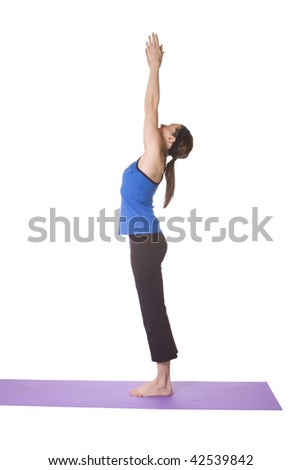 Woman in Yoga Position - Isolated White background